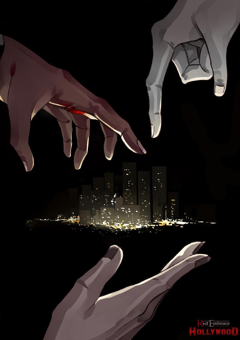 Hands around cityscape