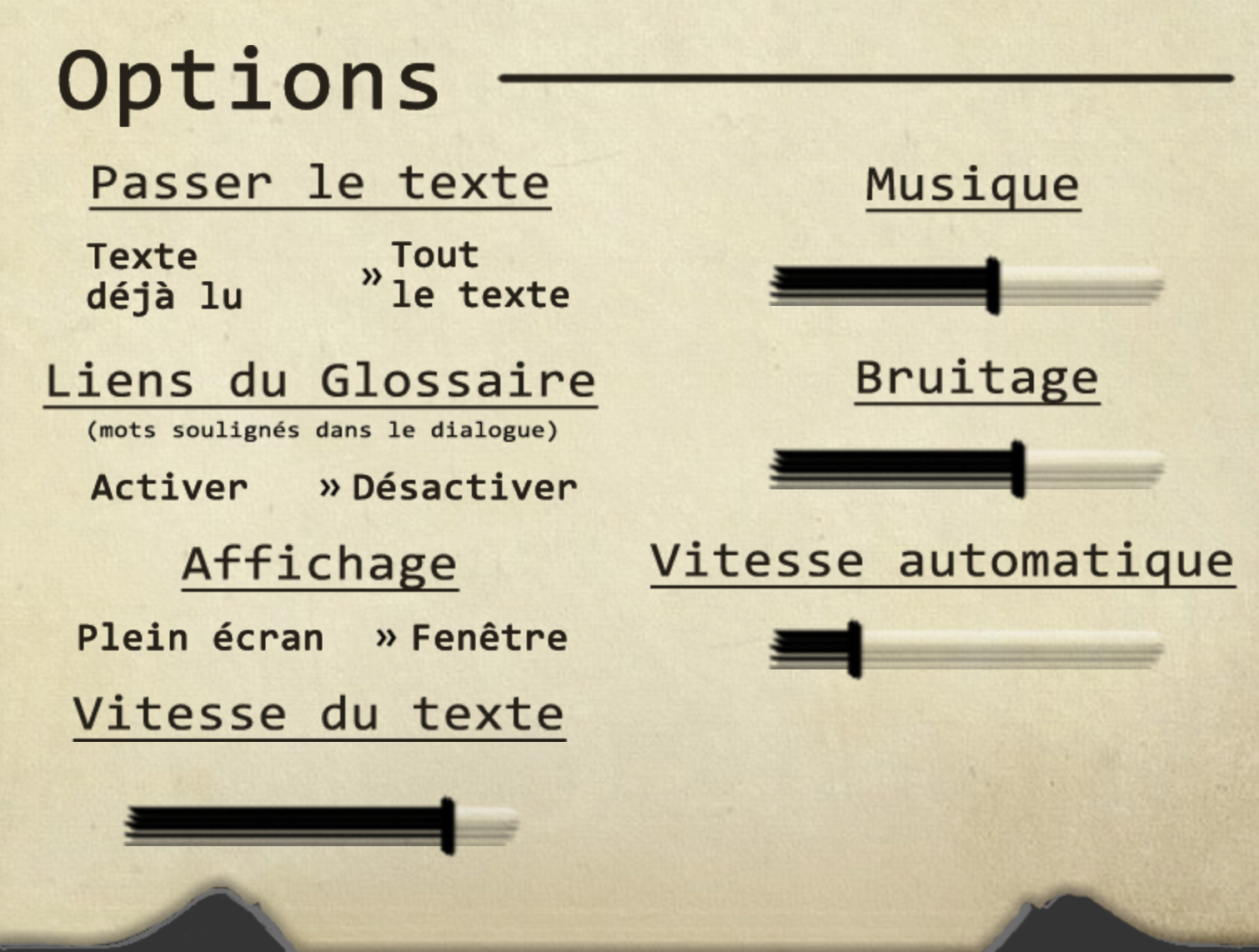 French options screen