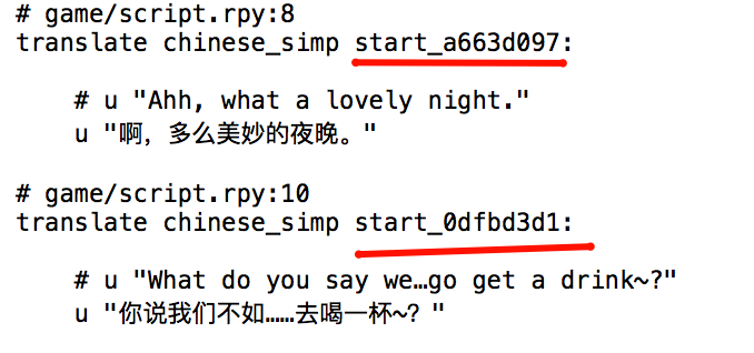 Snippet from YDD's translation file