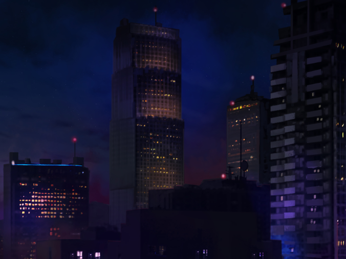 Night time skyscrapers
