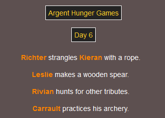 Progress image of the Argent Games Hunger Games