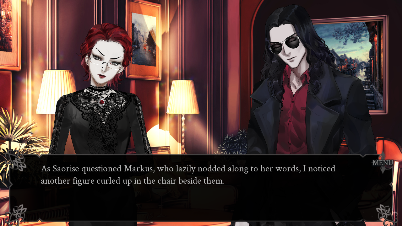 Saorise and Markus in the hotel meeting room. Text: As Saorise questioned Markus, who lazily nodded along to her words, I noticed another figure curled up in the chair beside them.