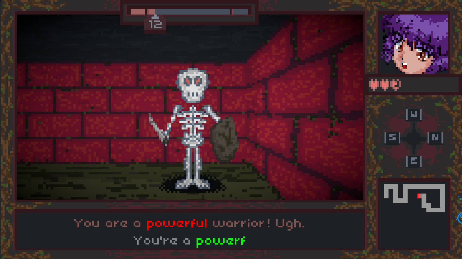 Skeleton on screen. Halfway through typing the attack 'You are a powerful warrior! Ugh.'