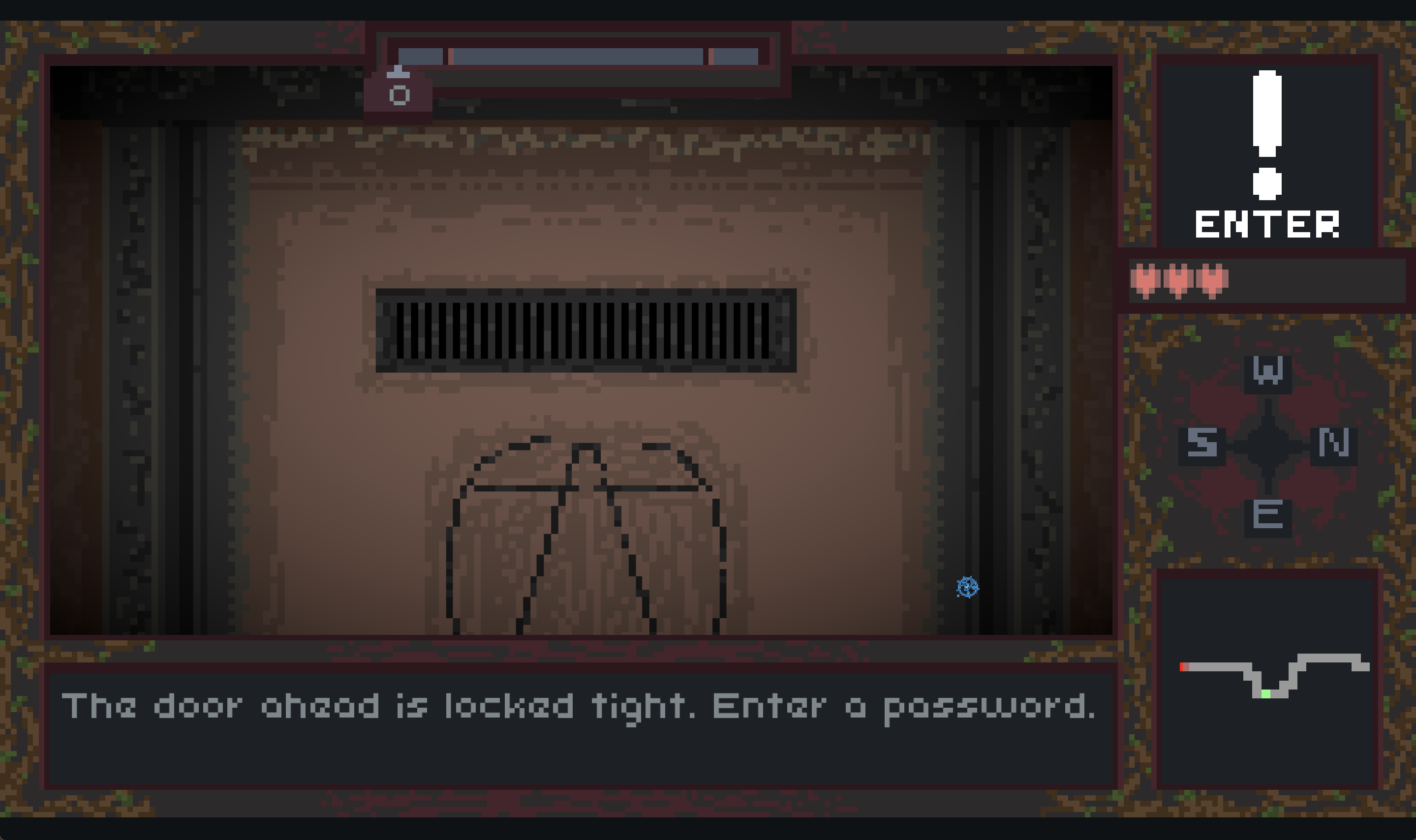 At the door of the title. Enter a password to proceed.