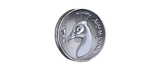 silver coin with peacock