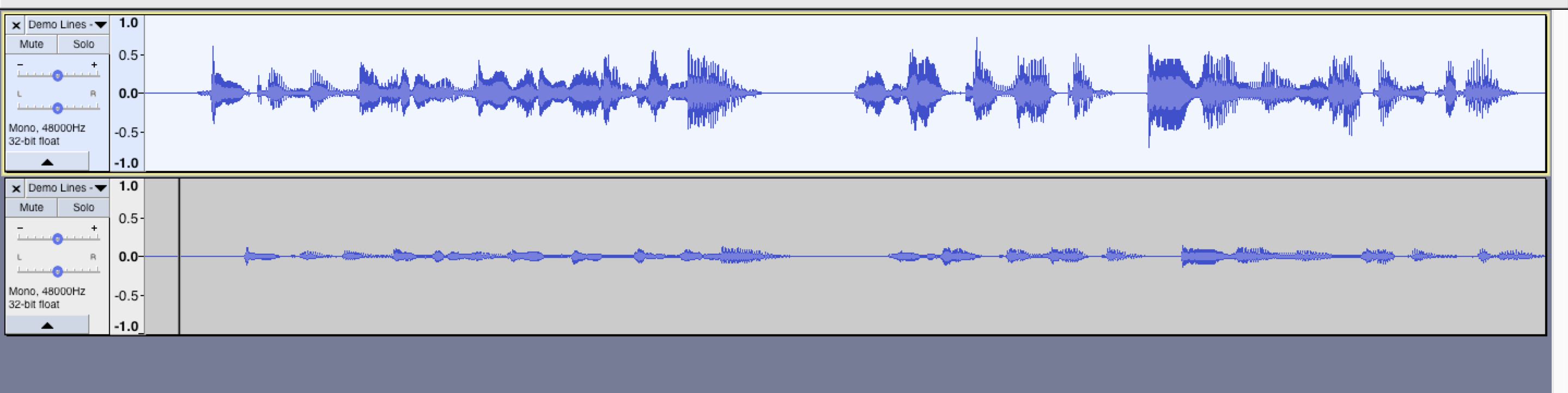 After the macro is applied, we have two tracks in Audacity