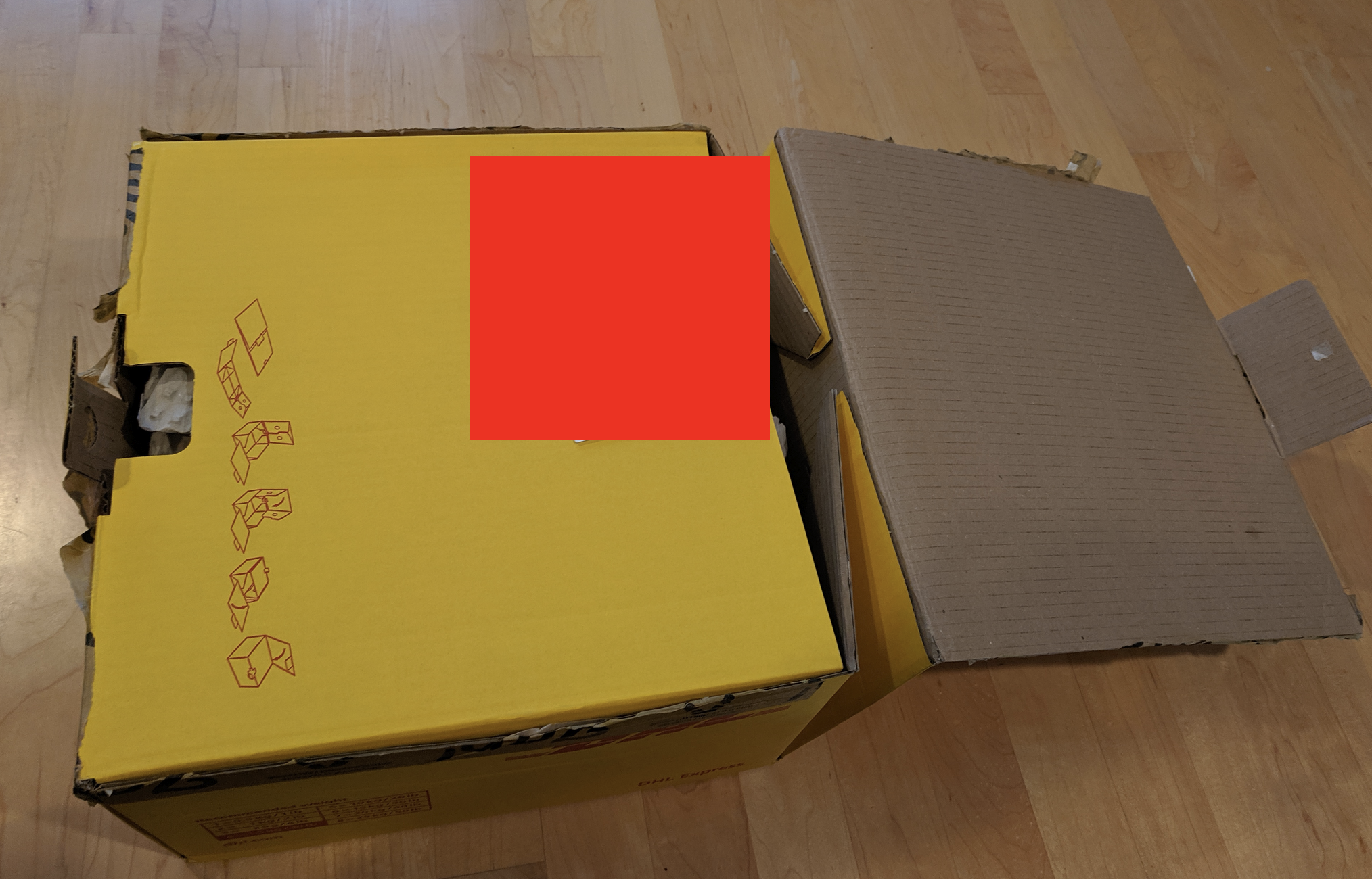 Large yellow DHL package