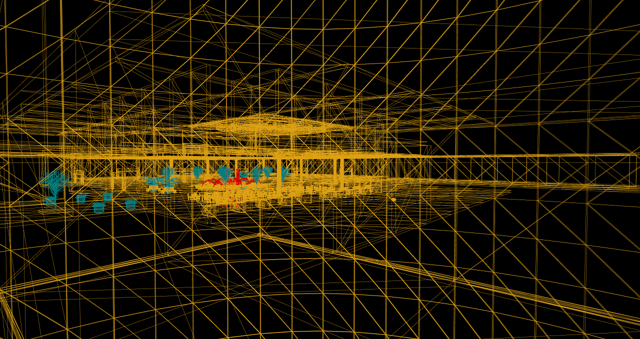 Screenshot of wireframe view in Unreal