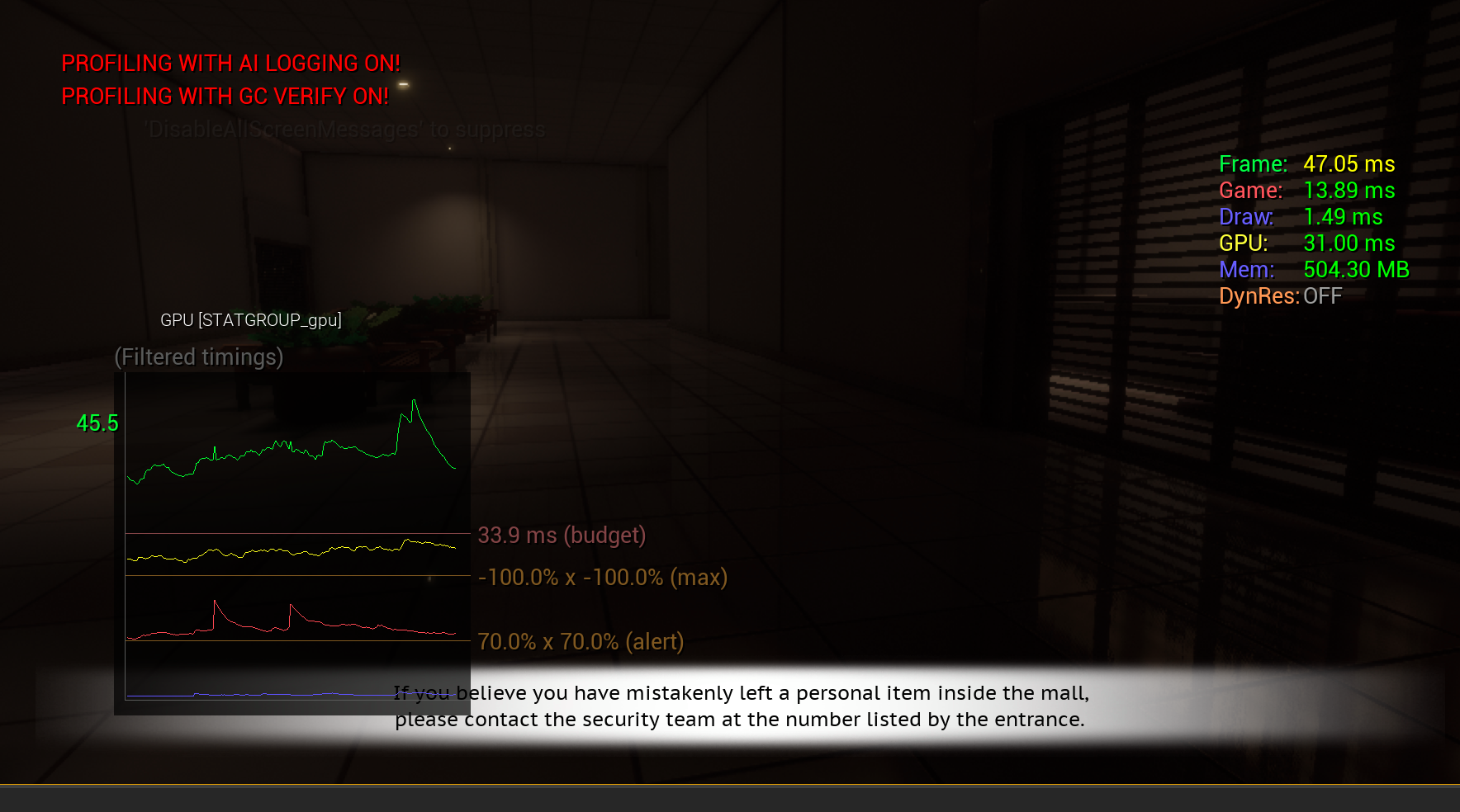 Screenshot of beginning hallway with graph and basic stats of how long it takes per frame to compute the GPU and Game threads, among other various stats