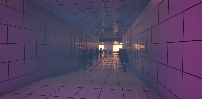 White corridor leading to pool