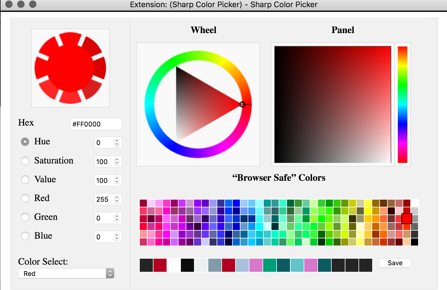 Color palette window with browser safe colors, a color wheel, color panel, hsvrgb color values, hex code, and a shade picking wheel