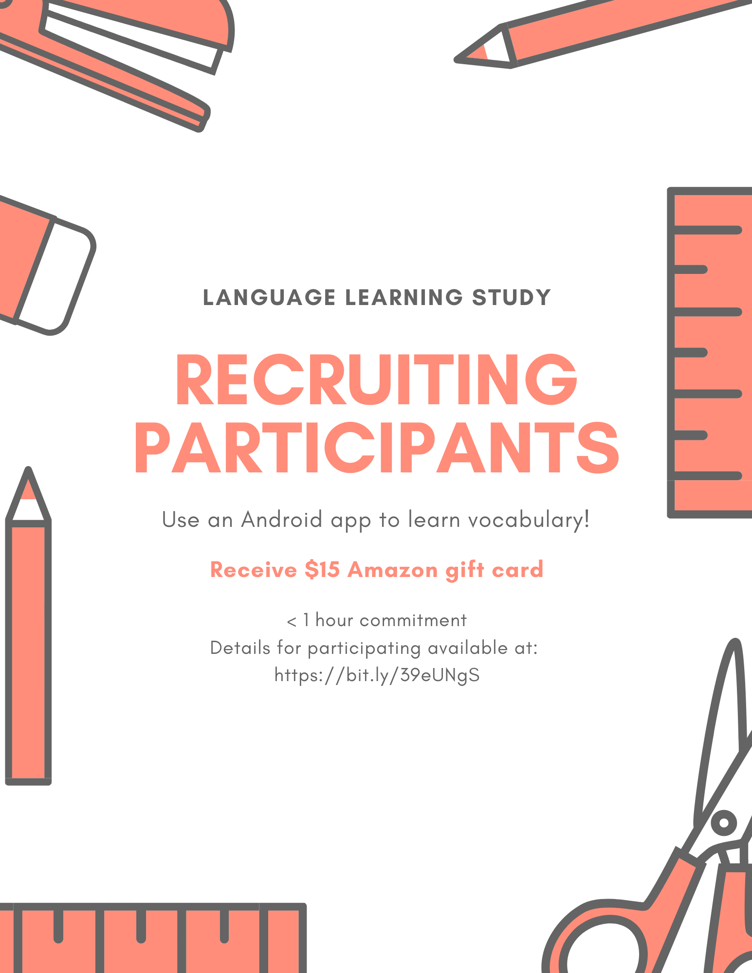 Recruiting participants for an Android app Language learning study