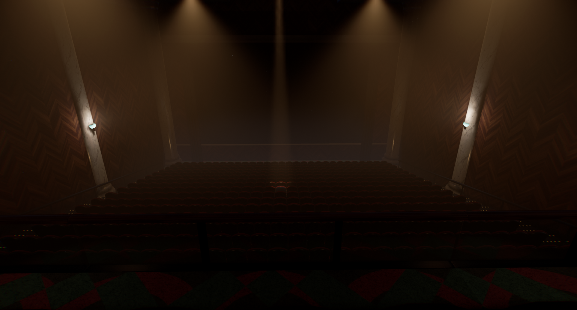 Movie theater with spotlight