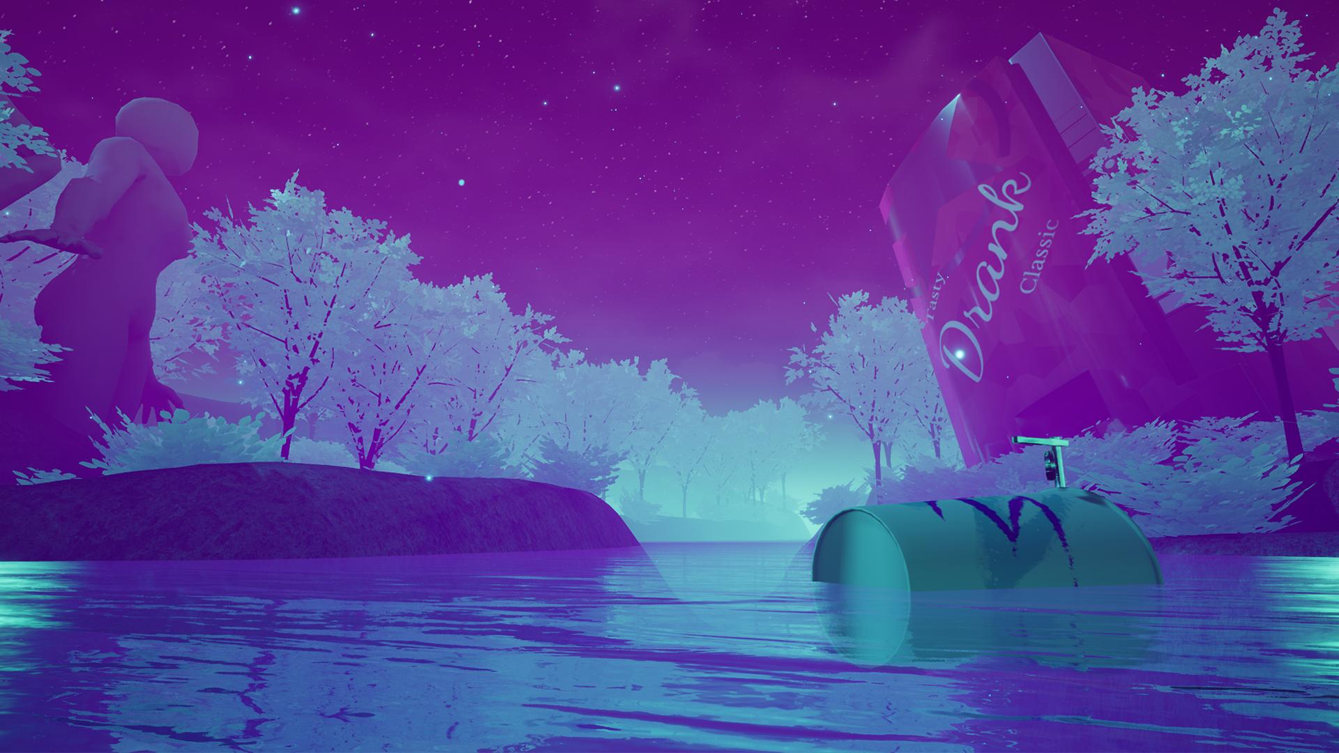 Neon colored river