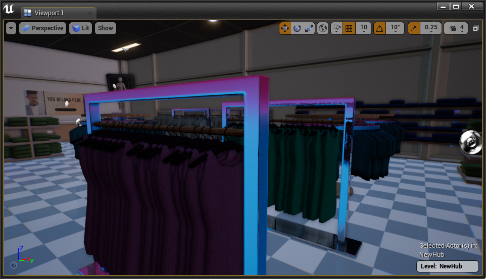 Clothing racks with a purple-blue gradient