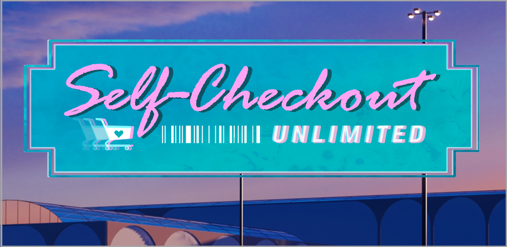 self-checkout unlimited with 3d mall render in background