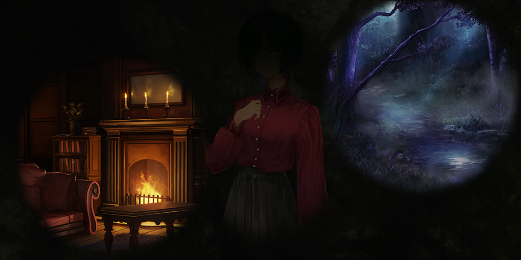 Shot of a dark manor, a shadowed figure, and a forest