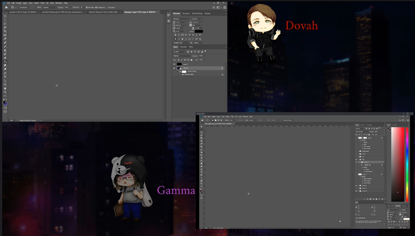 screenshot of the dev stream. two photoshop windows are open in the upper left and bottom right corners, with the dovah and gamma chibis in the upper right and bottom left corners. the dovah sprite is lit up indicating speech