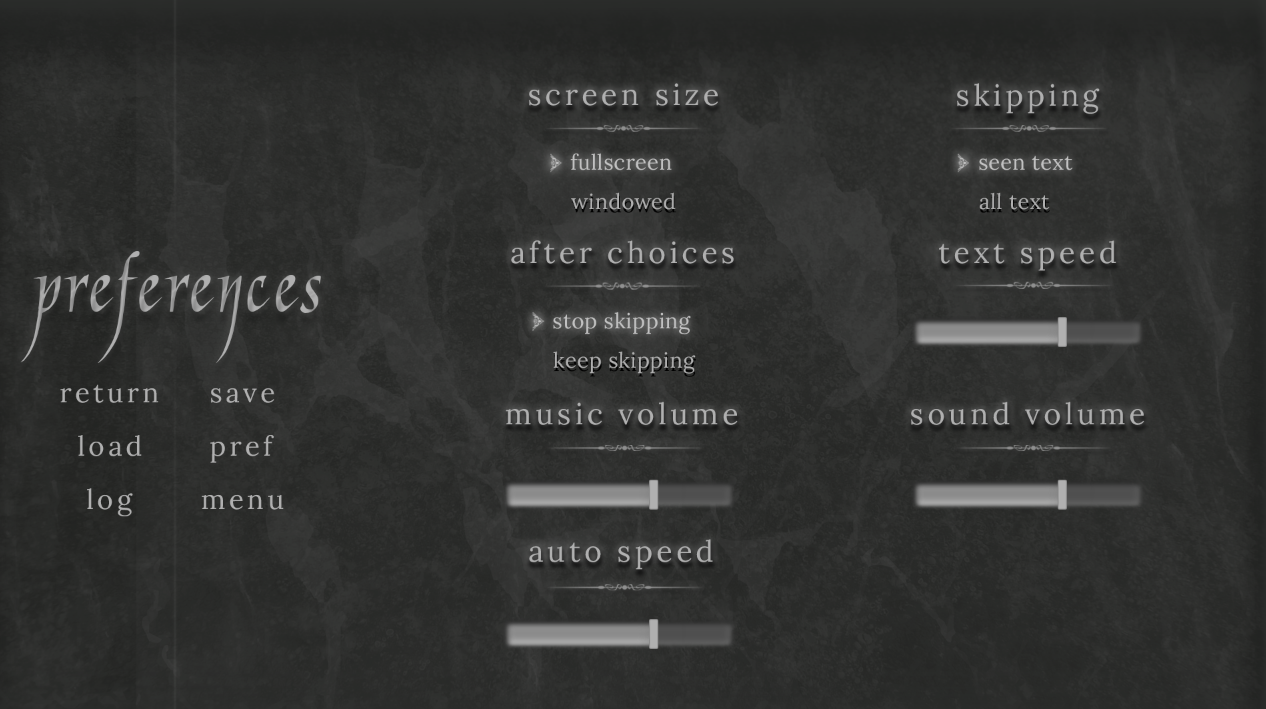 dark grey themed preferences menu