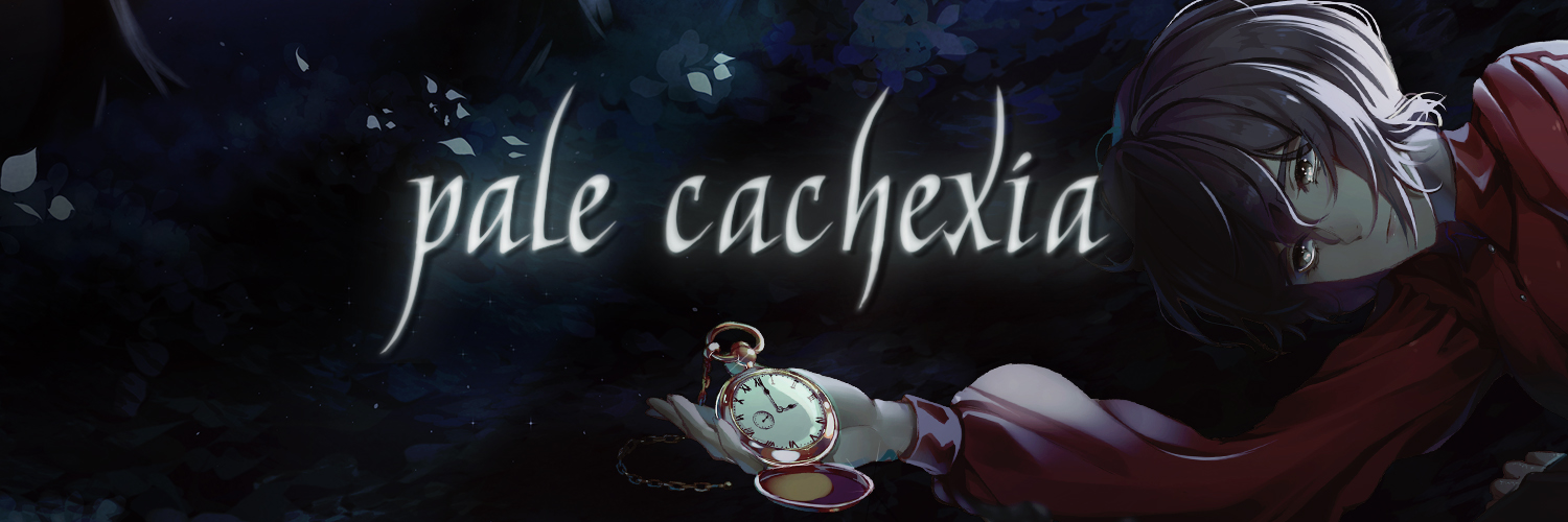 pale cachexia banner, girl lying on ground with watch in hand