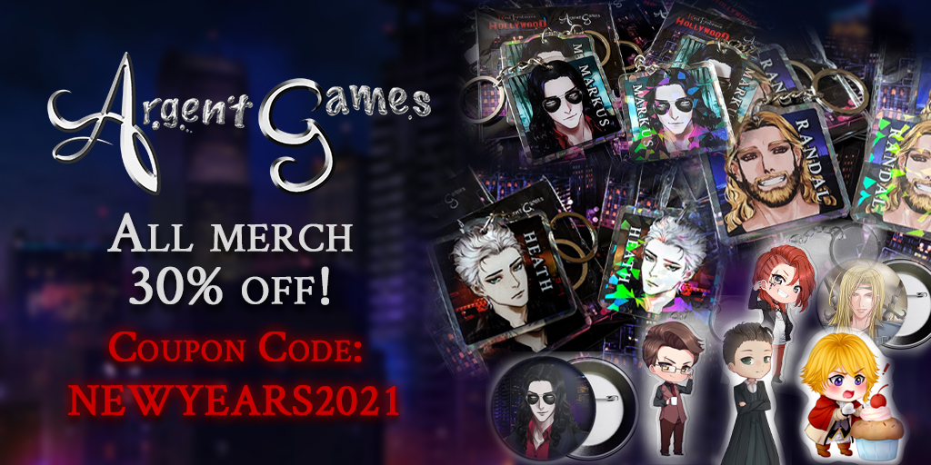 store merchandise images on the right and text on the left saying the argent games store has a sale