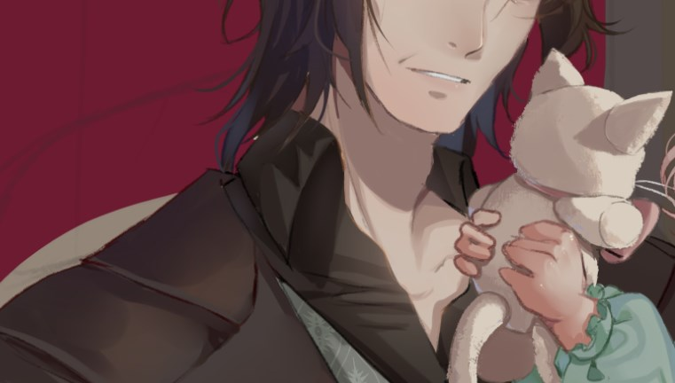 CG snippet of someone holding a stuffed cat