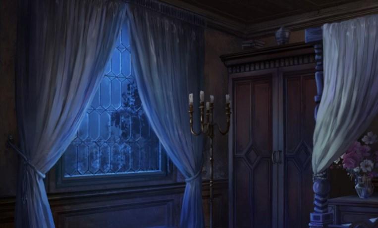 screenshot of a dark gothic bedroom