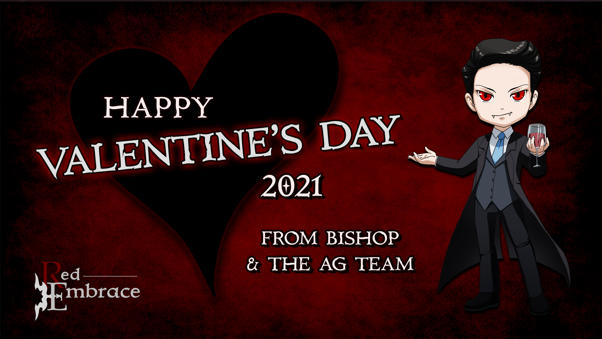 happy valentines day 2021 from bishop and argent games. chibi bishop at right holding up a glass of wine or blood