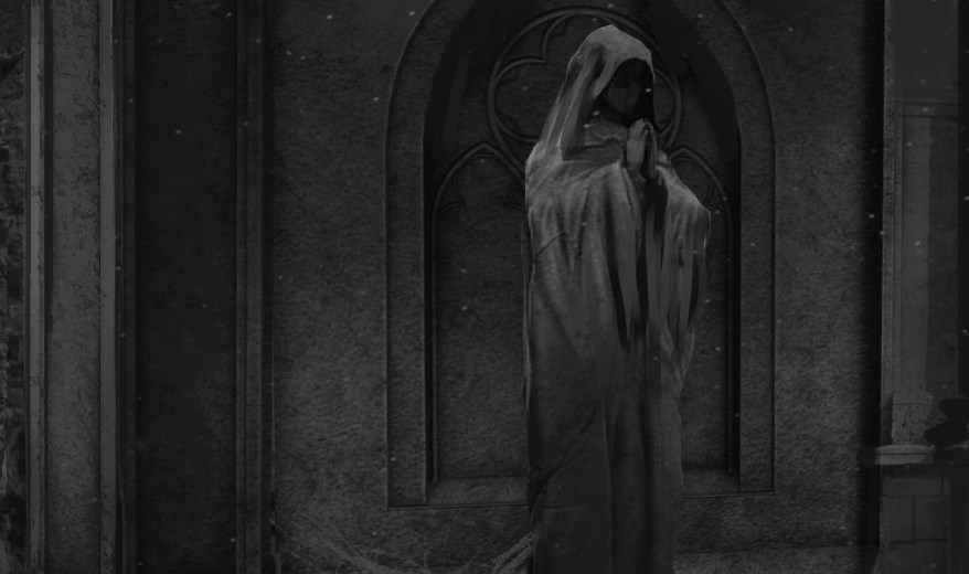 screenshot of a creepy statue in black and white