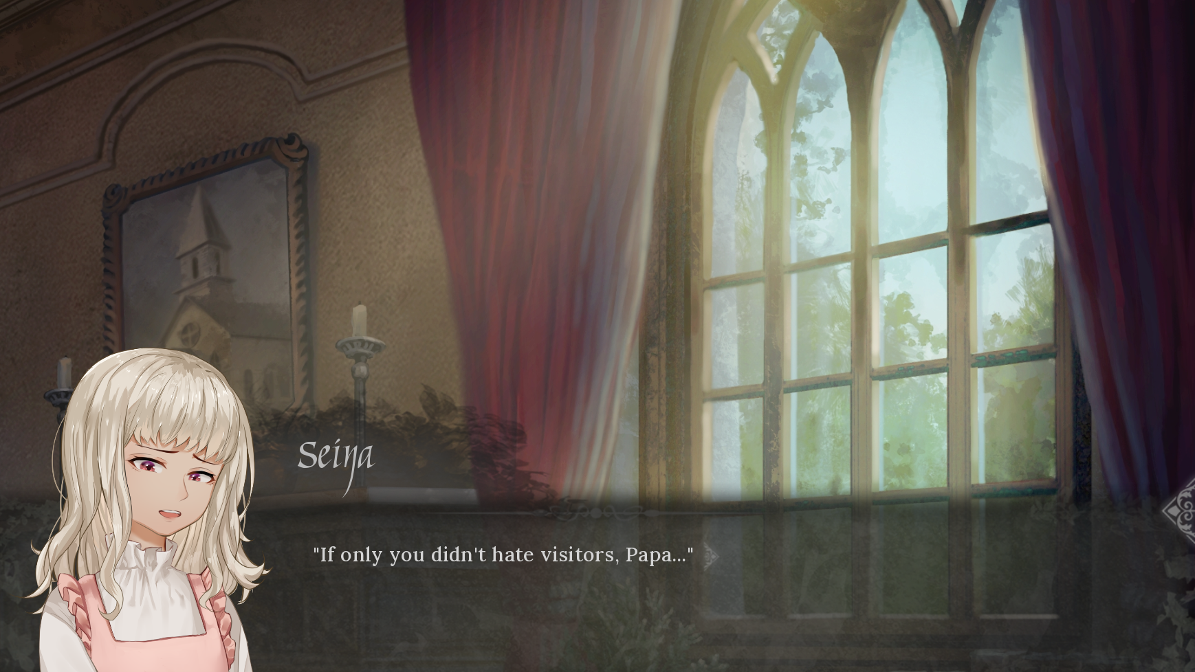 screenshot of daytime window, text spoken by Seina: 'If only you didn't hate visitors, Papa...'