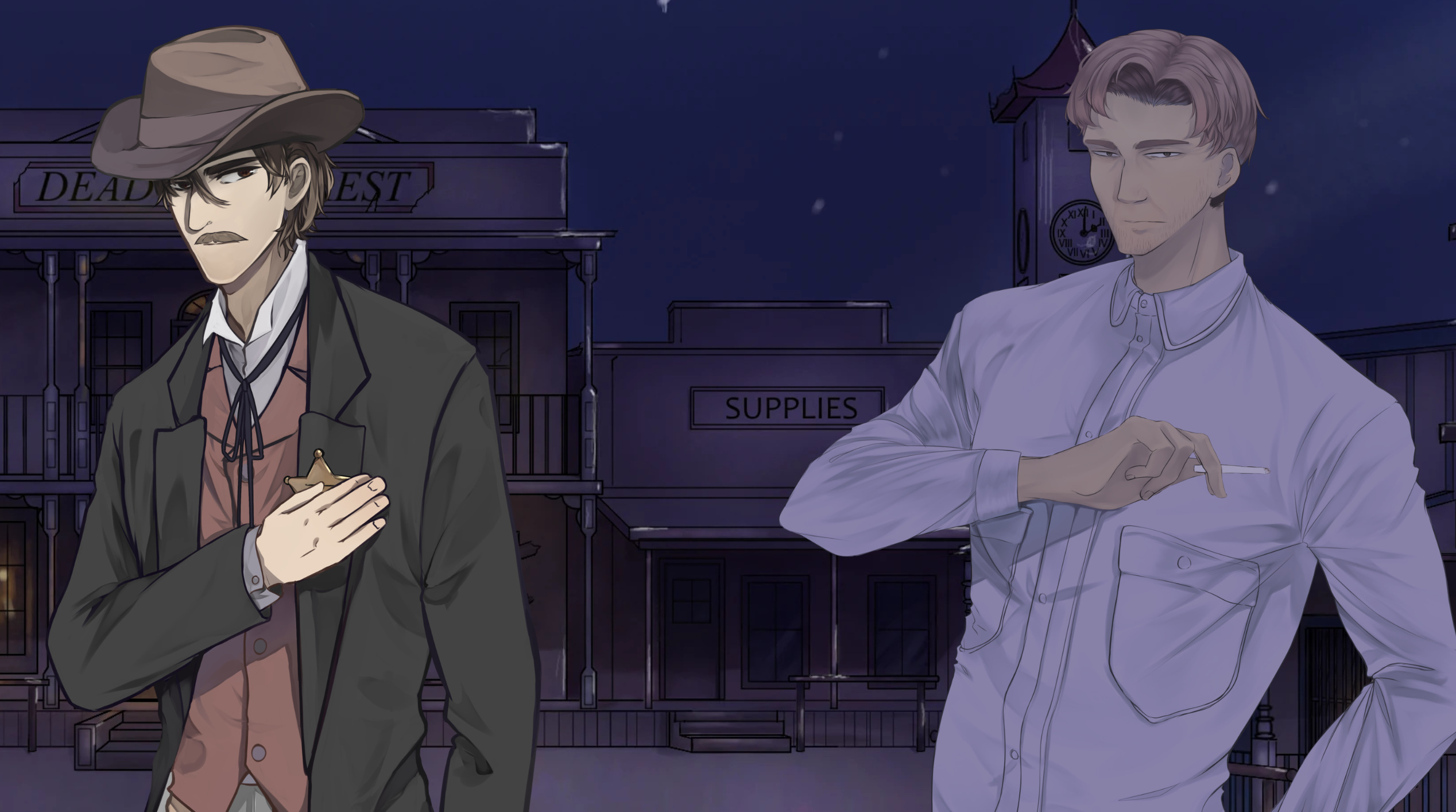 cartwright at left and hollis with night tint at right, with night town background