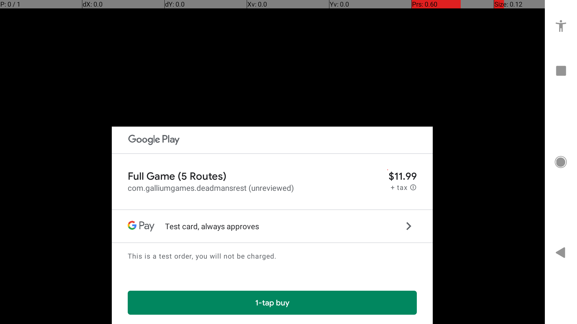 black background, google play pop up asking if you want to make an in-app purchase