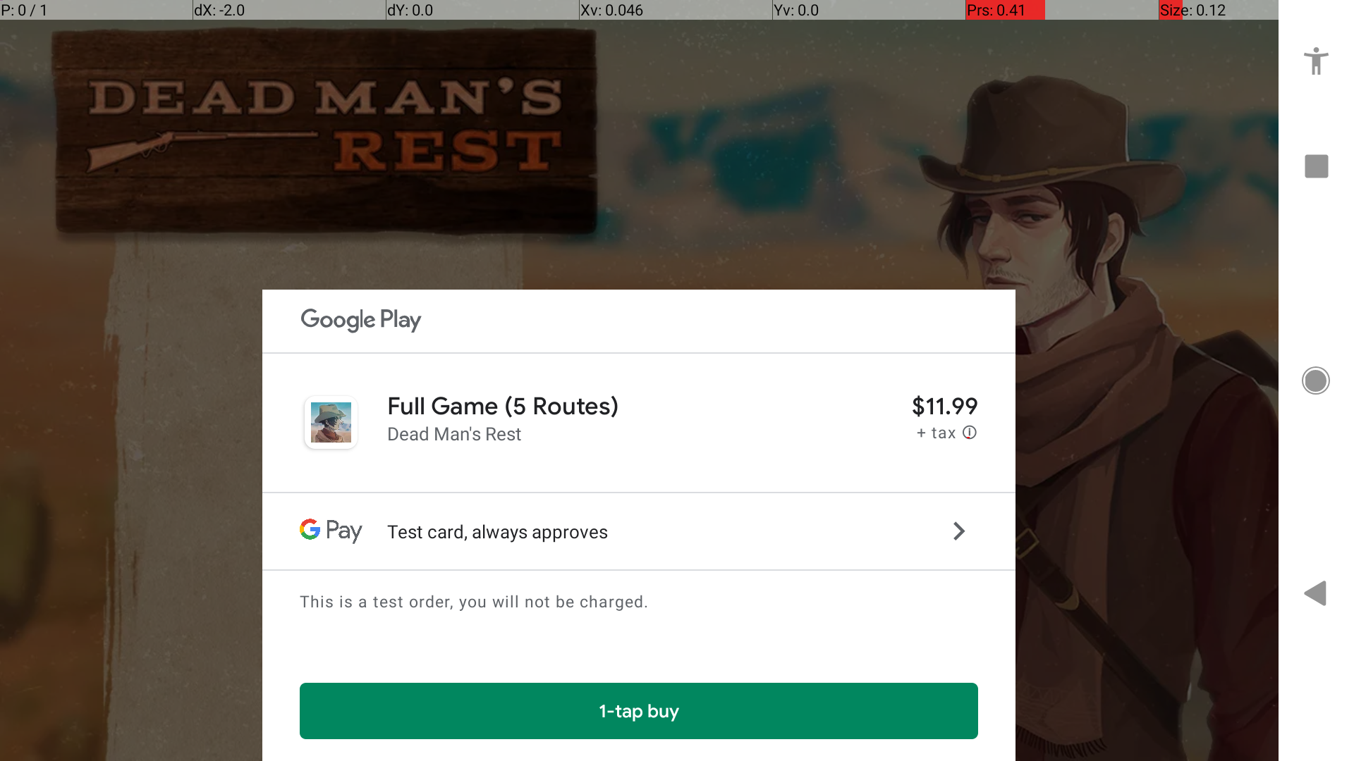 google play purchase screen pop up with dmr main menu visible