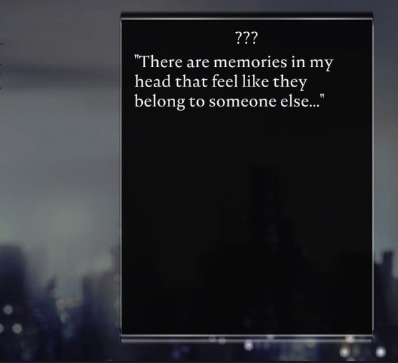 screenshot of text, caption: 'There are memories in my head that feel like they belong to someone else...'