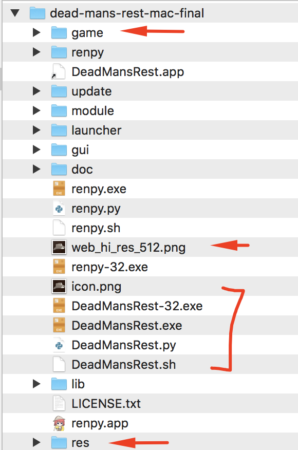 folder structure of the mac dead mans rest game
