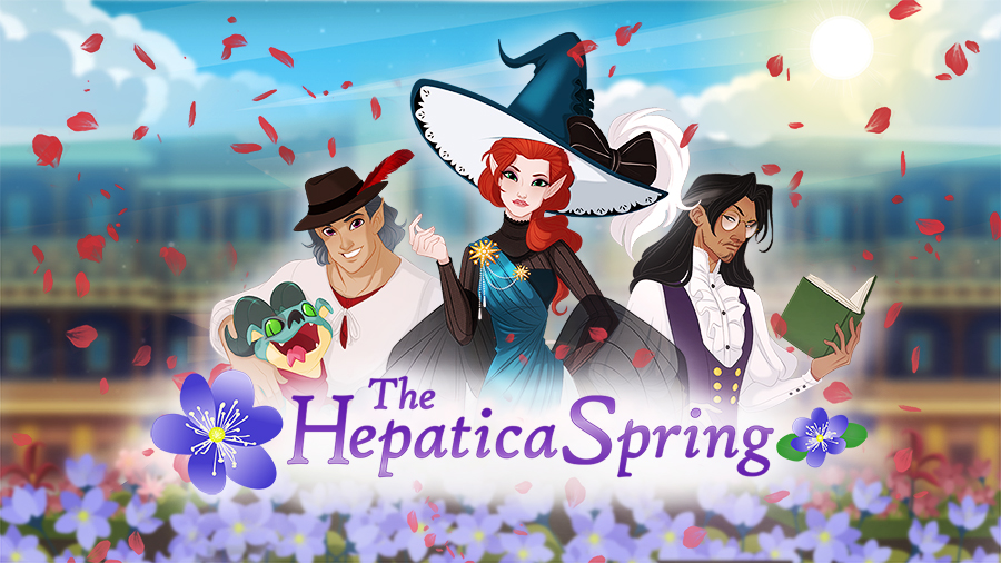 the hepatica spring banner with three main characters on top of the hotel background